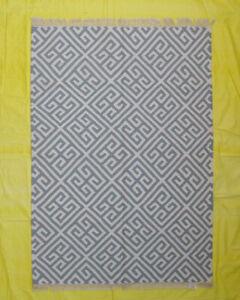 Geometric Décor Decorative Afghan Kilim Rug Hand Woven Wool 5x7 Sky Blue Color