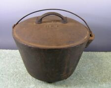 Antique Cast Iron Covered, Footed Pot With With Wire Handle ,19th Century