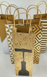 Wine Bottle Gift Bag With Twisted Handle Tag~Reusable~Pick your designs/package