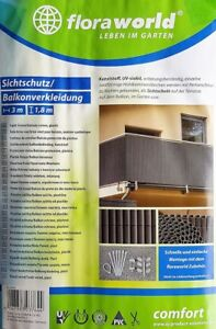 Floraworld Sichtschutzmatte Classic PVC 3,0 x 1,8 m Anthrazit Braun Grau