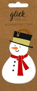 6 Luxury Die-cut Jolly Snowman Christmas Gift Tags – Glick Xmas Gift Accessory