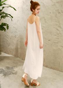 Women Cotton Linen Strappy Full Slips Long Dress Chemise Petticoat Underdress
