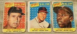 1958 Topps All Star Sport Magazine Ted Williams / Hank Aaron / Stan Musial Lot