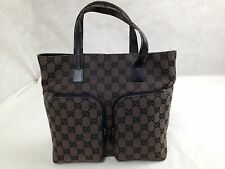 Authentic GUCCI GG Canvas and Leather Tote Hand Bag 5E270320 VTG