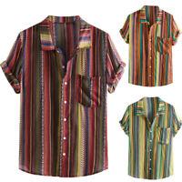 Men's Fashion Casual Bohemian Dress Shirt Stripe Short Sleeve T-Shirts Tops Tee