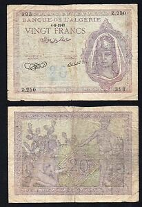 Algeria 20 francs 1943 BB-/VF-  B-04