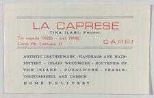 La Caprese Jewelry Store Advertising Card Capri Campania Italy 1950s 1960s