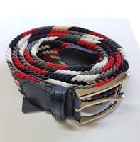 ds Cinta Cintura Uomo Intrecciata Multicolore Rossa Glamour Fashion Moda hac