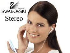 Auriculares con Swarovski Elements Cristal Rosa Raspbery,  Stereo Blancos WAND