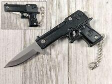 "Spring-Assist Folding Keychain Knife | Mini Black Military Pistol Handgun 3"""