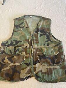 vintage Made in USA camo hunting vest shooting XL Shotgun Shells Birds