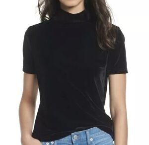 Madewell Velvet Mock Neck Top Tee Women Size M Black Short Sleeve Style 2606