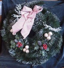 Gently Used Artificial Pine Decorative Christmas Door Wreath - VGC - FESTIVE