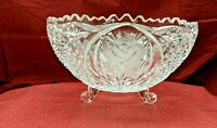 Footed Crystal Centerpiece Bowl,Round, Etched Flowers, Diamond Cut Panels