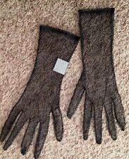 """Large 17"""" Black Net Halloween Pair of GLOVES Costume Accessory"""