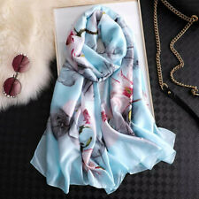 Silk feeling scarf.Delicate blossom design.180x90cm.Gift wrapping available