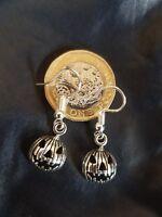 Halloween Goth Punk Rock Emo pumpkin earrings 3D BOLD Tibetan Silver Earrings