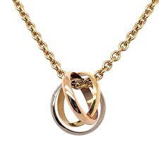 "CARTIER NECKLACE 18K Yellow Gold Tri-tone 16"" Trinity w/ Pendant Estate Jewelry"