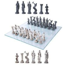 "Greek Mythology Olympian Gods And Demigods Chess Set with Glass Board 17""L Decor"