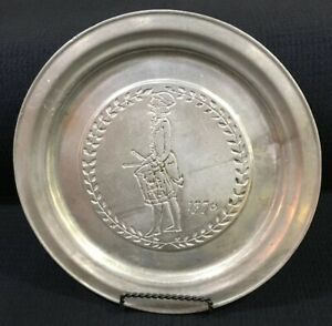 "Wilton RWP 1776  Liberty Drummer Boy 11"" Pewter Plate Columbia PA Made In USA"