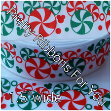 "Mouse Christmas 1.5"" wide grosgrain ribbon the listing is for 3 yards total"