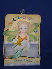 Vintage April Petal Pixies Cloth Doll by Applause 7 inch 2002 Mint in Box