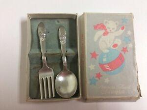 Vintage 1847 Rogers Bros First Love Pattern IS Silverplate Baby Spoon & Fork Set