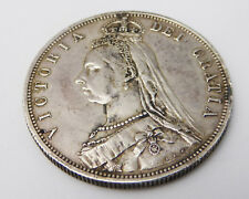 Antique British 1887 Victorian Silver Half Crown Coin