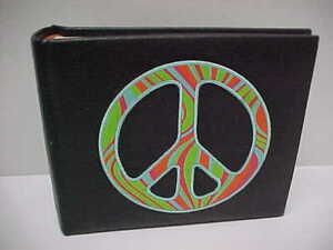 "PEACE Logo Sign Embroidery Leather Faux 4"" x 6"" Photo Album Make Your Mark MXY"