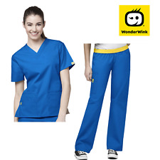 Womens Scrub Set V-Neck Nurses Top and Elastic Waist Pants with lots of Pockets
