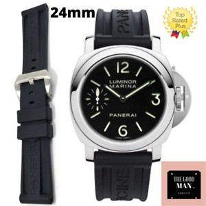 New 24mm HQ Black Soft Rubber Diver Strap Watch Band for fits PANERAI 44mm case
