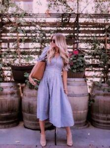 New NWT Free People XS Love of My Life Cotton Gauze Prairie Festival Dress Blue