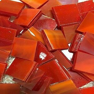 """1/2"""" RED Stained Glass Mosaic Tiles (100 PIECES)"""