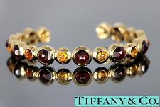 $9500 Rare Tiffany Co FRANCE 18K Yellow Gold Citrine Garnet Cuff Bangle Bracelet