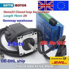 【EU+UK】 2 Set 2N.m Closed Loop Servo Motor Nema23 76mm +HSS57 50V Driver CNC Kit