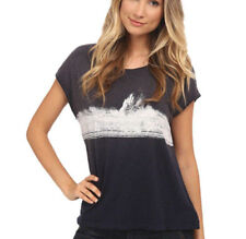 Free People OB401902 Thunder Moon Graphic Tee Top Navy S