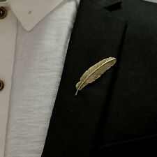 Mens Retro Gold Leaf Feather Suit Brooch Pin Collar Suit Formal Wear Breast pin