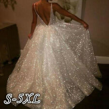 Women Sequin Backless Long Dress Evening Party Formal Wedding Ball Prom Gown UK