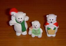 Hallmark Christmas Merry Miniatures Polar Bear Family Mom, Dad, Baby Lot of 3