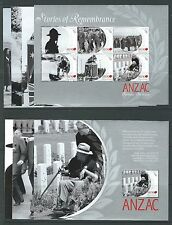 NEW ZEALAND 2010 ANZAC SCENES OF REMEMBRANCE SET 7 BOOKLET PANES UNMOUNTED MINT