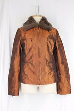 BKE Outerwear BUCKLE Coat MEDIUM Iridescent Copper Faux Fur Collar Lined Pockets