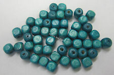 50 Wooden Beads 6mm Cube Wood Bead Turquiose Blue For Beading & Craft WB602