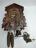 SCHMECKENBECKER REGULA GERMAN CUCKOO CLOCK EIGHT DAY WAITS LEAVES WOOD VTG RARE