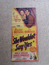 Original Rare CINEMA MOVIE POSTER 1945 ROSALIND RUSSELL She Wouldn't Say Yes!