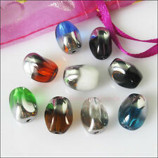 10Pcs Mixed Half-Silver Helix/Twist Glass Spacer Beads Charms 10x13mm