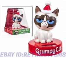 GRUMPY CAT BOBBLER Solar Powered Christmas Santa Hat Bobble Head SHAKES HEAD NO!