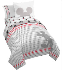 Mickey Mouse 90th Anniversary Striped Bedding Set w/ Reversible Comforter Twin