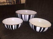 Cathrineholm Norway Mid-Century Modern Set 3 Black White Striped Enamel Bowls