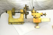 Antique Brass & Steel Watchmakers Lathe W/ 3-Clamp Chuck & Adj. Tool Clamp NR