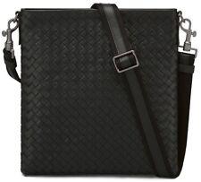 Bottega Veneta Intrecciato Leather Side Messenger Cross Body Bag Black